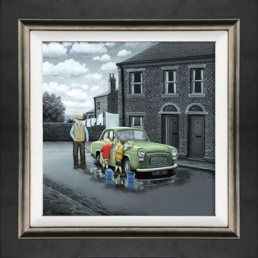 Don't Forget Them Wheels Framed Canvas Art Print by Leigh Lambert
