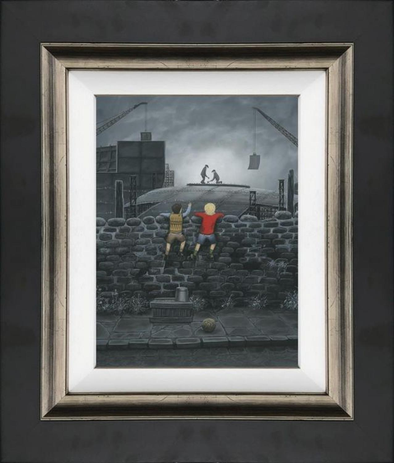Give us A Wave Dad Framed Canvas Art Print by Leigh Lambert