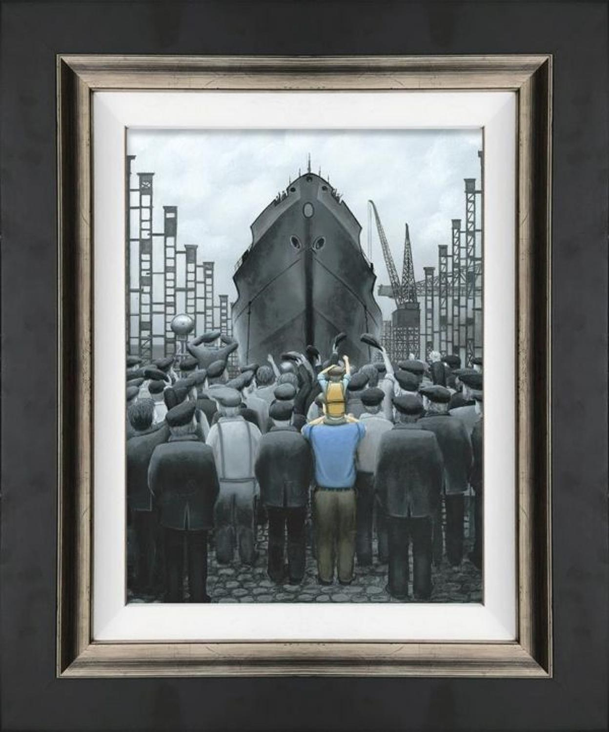 The Ship That Dad Built Framed Canvas Art Print by Leigh Lambert