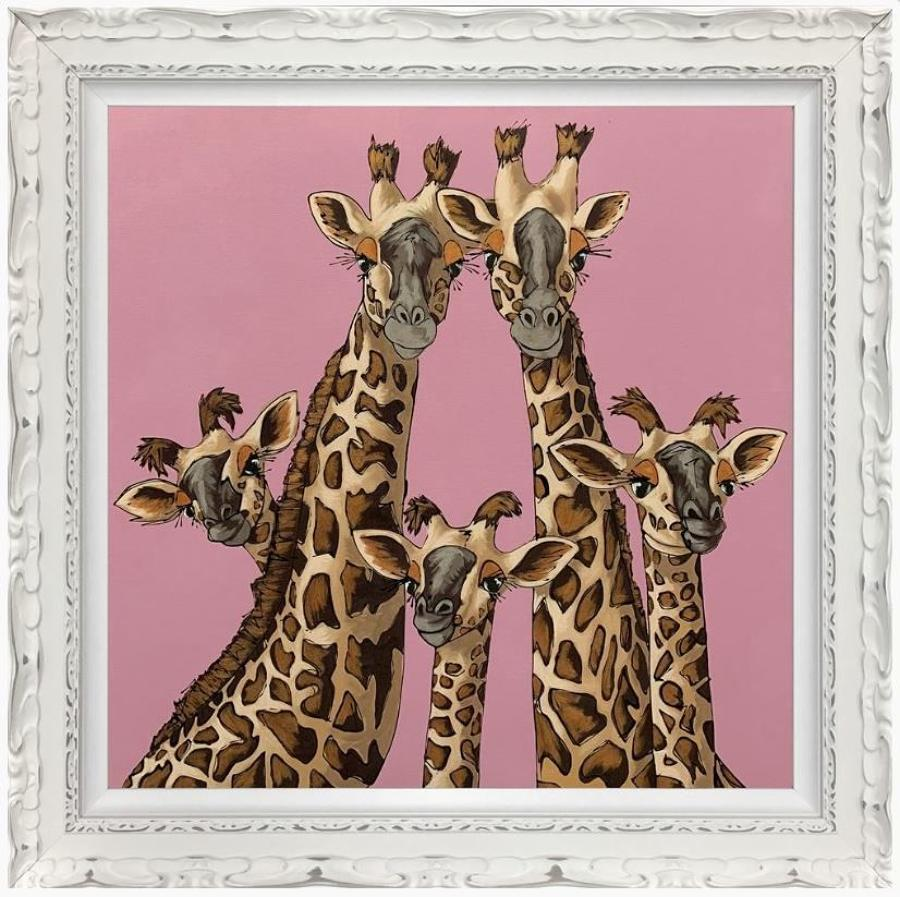 High Five In Rangwali Pink - Framed Art Print by Amy Louise