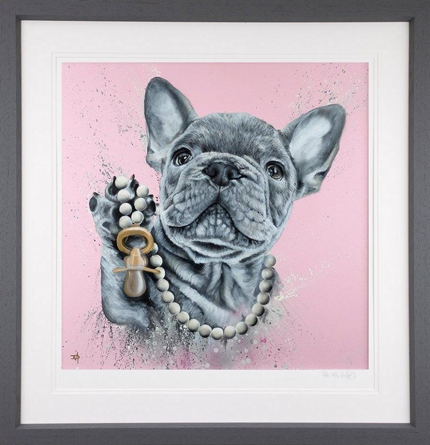 Pampered Pooch - Framed Art Print by Dean Martin The Mad Artist