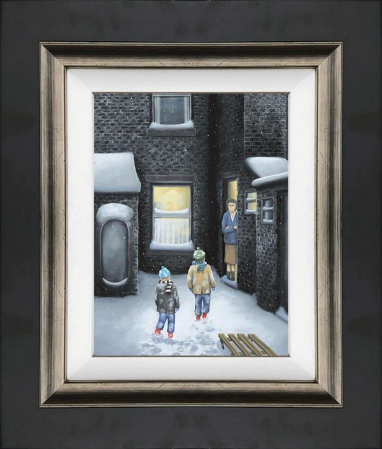 What's For tea Mam - Framed Canvas Art Print by Leigh Lambert