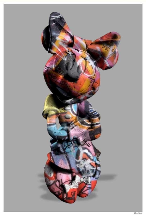 Graffiti Minnie - Framed Art Print by Monica Vincent
