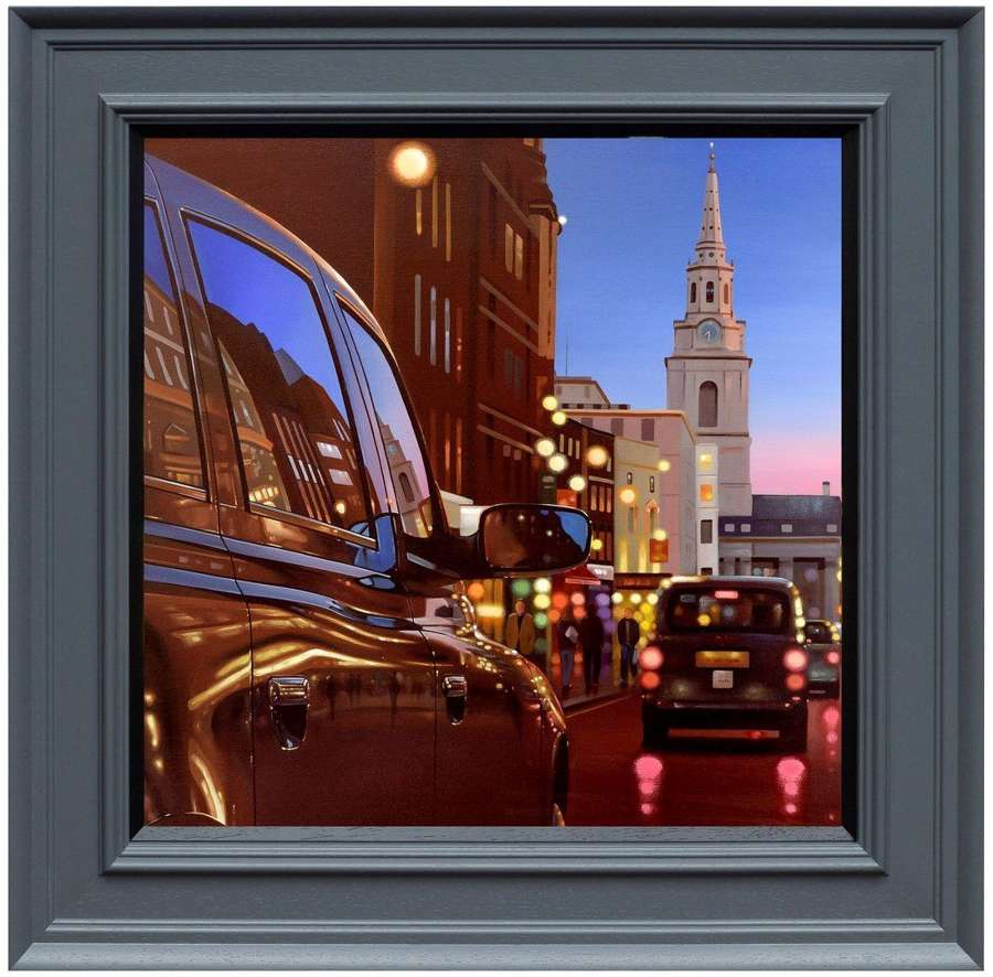 London Dusk Reflections by Neil Dawson Framed Canvas Art Print