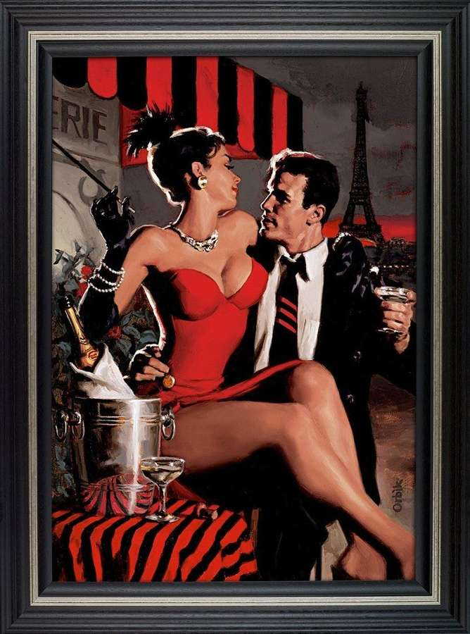 Midnight in Paris Framed Canvas Art Print by Glen Orbik