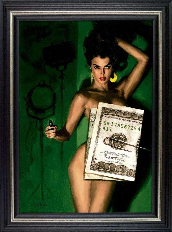 Money ShotFramed Canvas Art Print by Glen Orbik