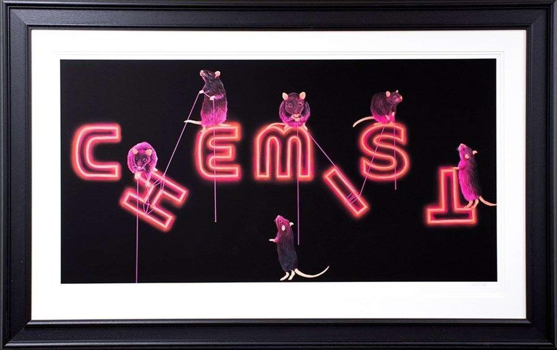 Rat's Fixing The Chemist Framed Art Print by Dean Martin