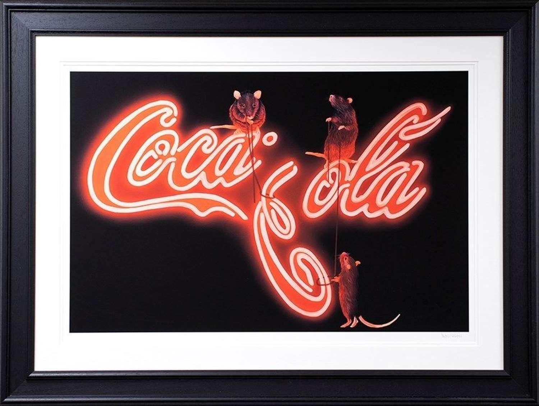 Rat's Fixing Coca Cola Framed Art Print by Dean Martin