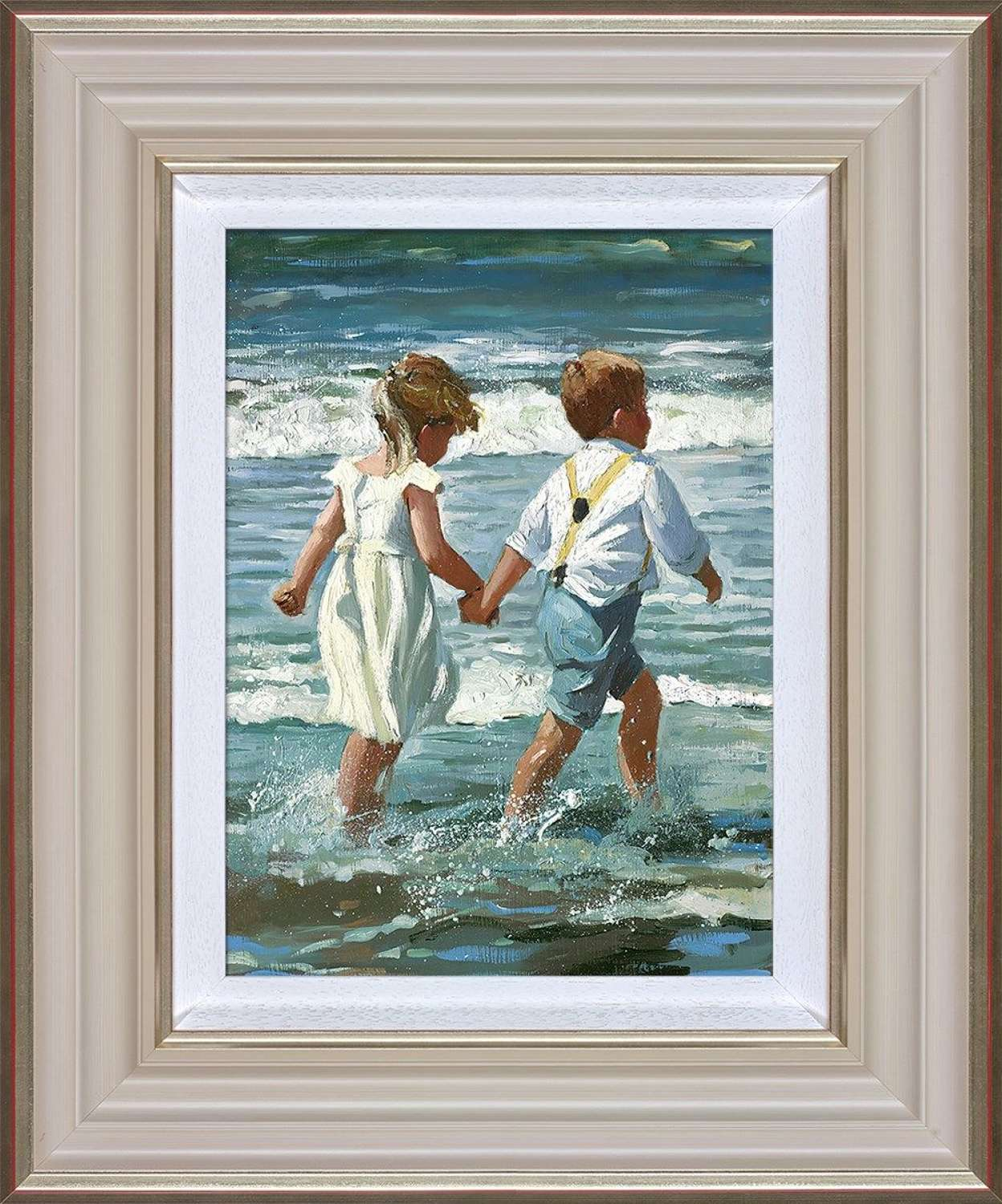 Chasing the Waves Framed Art Print by Sherree Valentine Daines