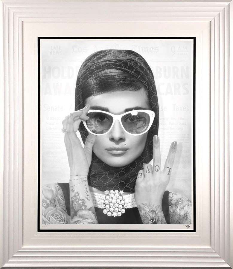 Peace, Love & Audrey - Black and White - Framed Art Print by JJ Adams