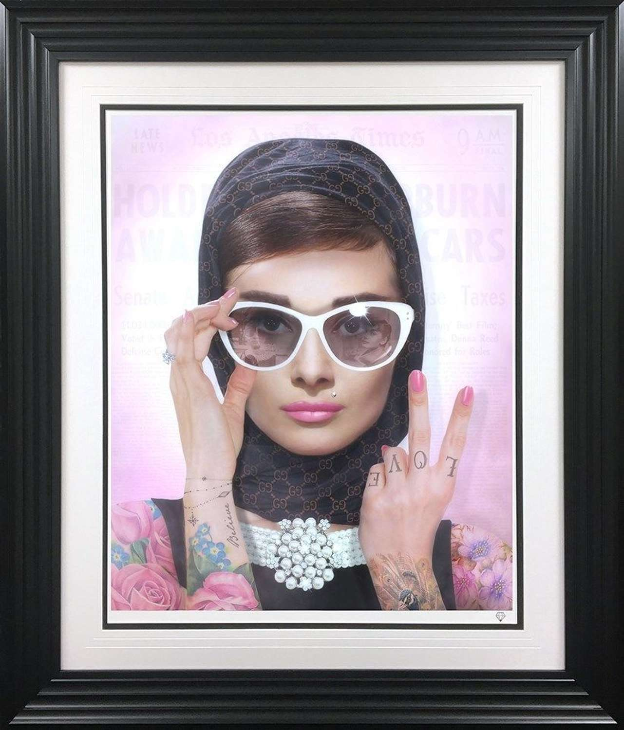 Peace, Love & Audrey - Colour - Framed Art Print by JJ Adams