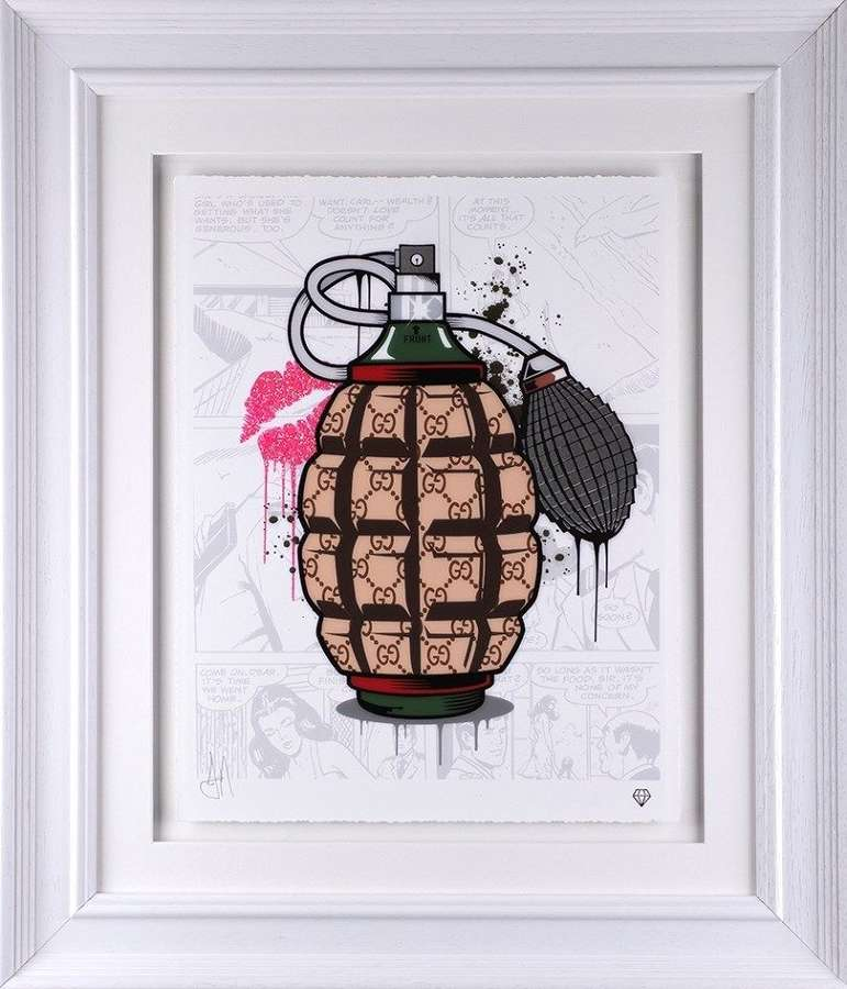 Designer Grenades - Gucci - Framed Art Print by JJ Adams