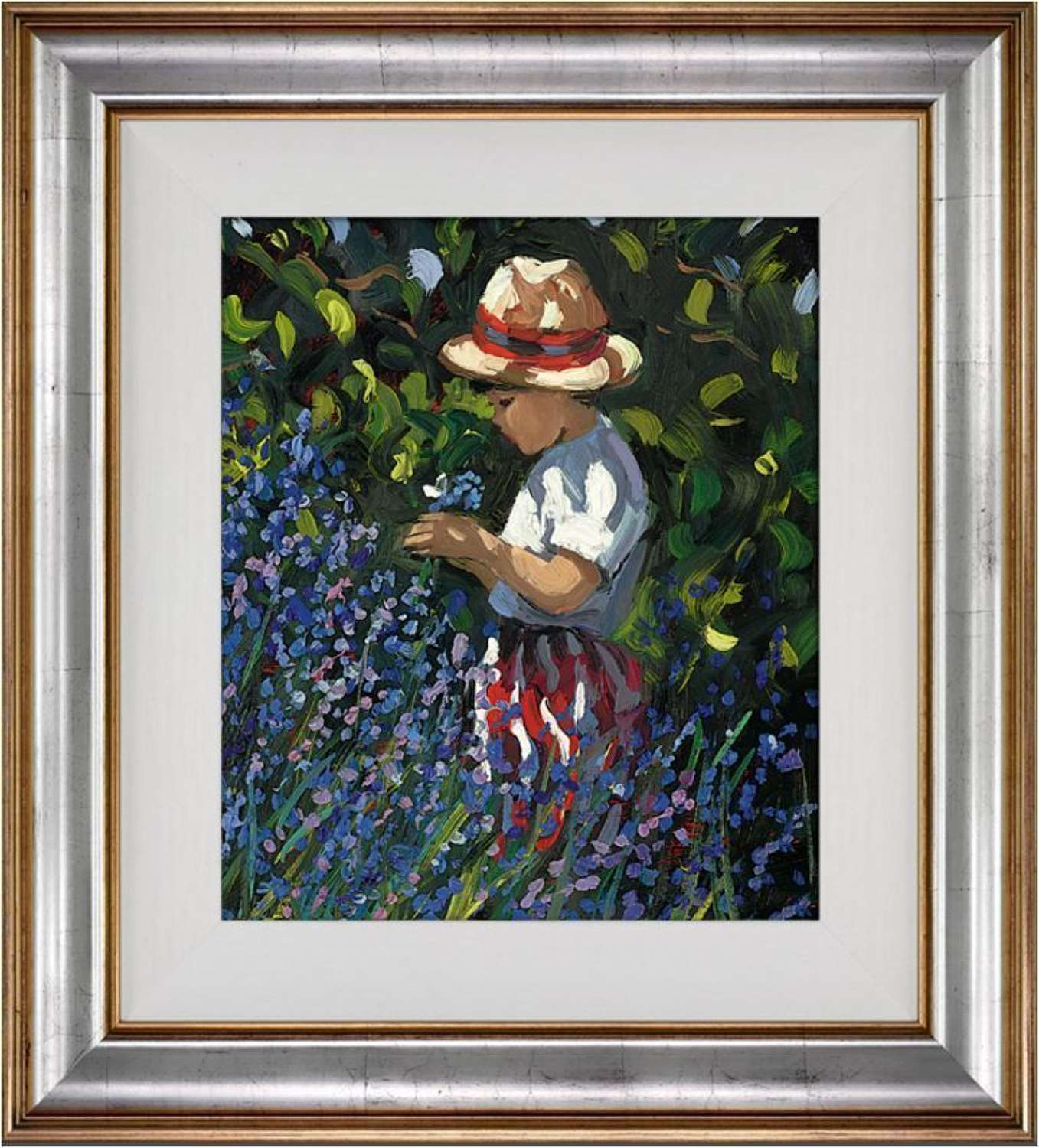 Picking Bluebells - Framed Canvas Art Print  Sherree Valentine Daine