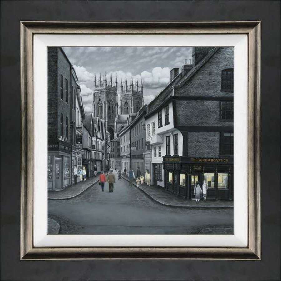 Meandering To The Minster - Framed Canvas Art Print by Leigh Lambert