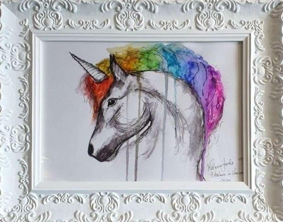 I Believe In Unicorns -  Original Watercolour By Melanie Jacobs