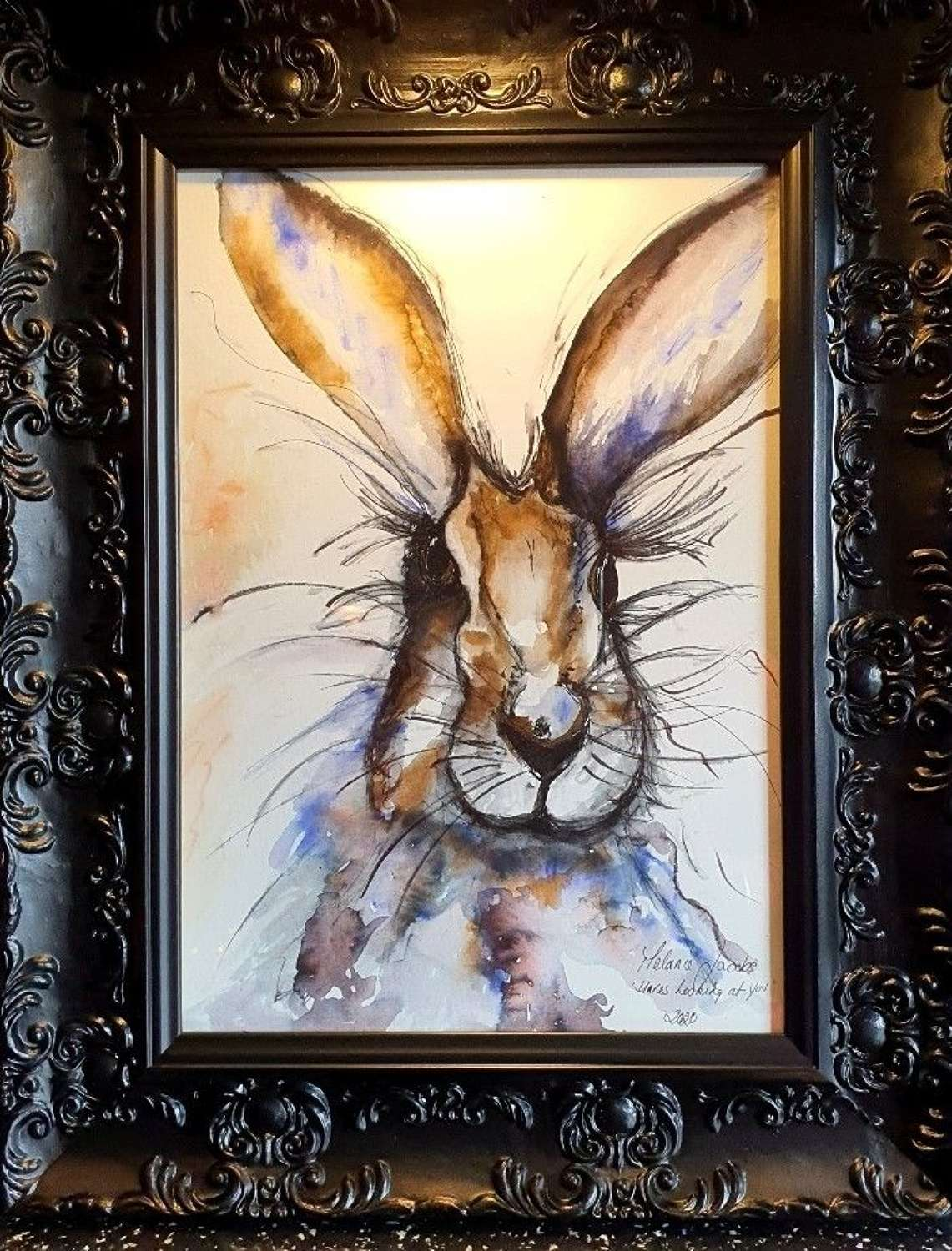 'Hares Looking At You' - Original Watercolour By Melanie Jacobs