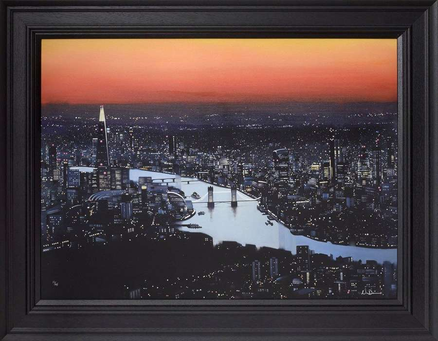 London Lights - Framed Canvas Art Print By Neil Dawson