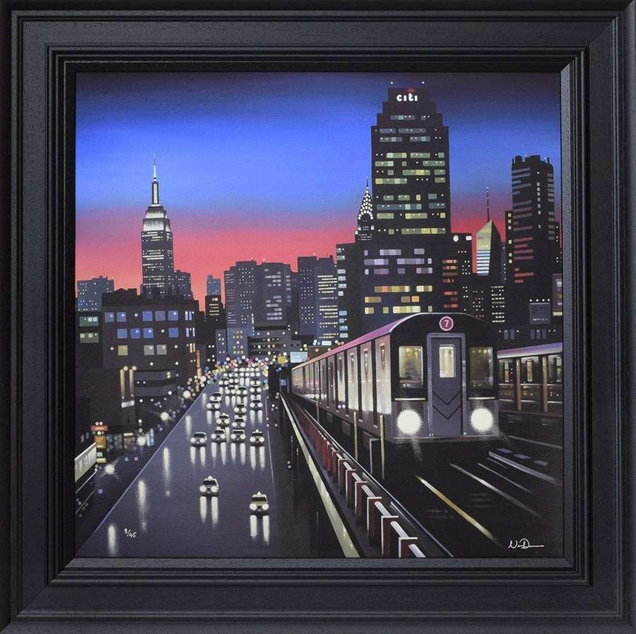 New York Tracks - Framed Canvas Art Print By Neil Dawson
