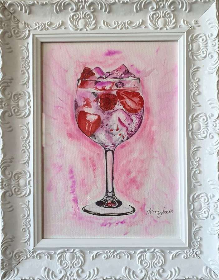 Pink Gin Fizz - Original Watercolour By Melanie Jacobs
