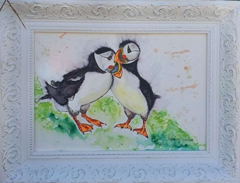 'Puffin Love' - Original Watercolour By Melanie Jacobs