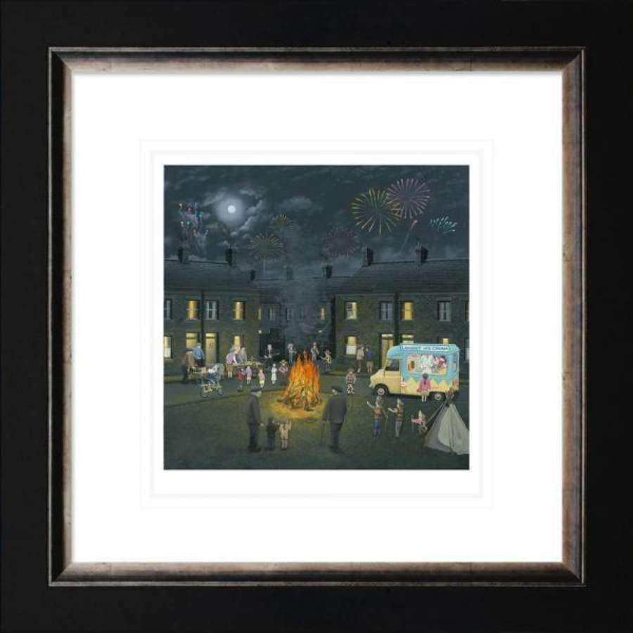 Bonfire Lights - Framed Paper Art Print By Leigh Lambert
