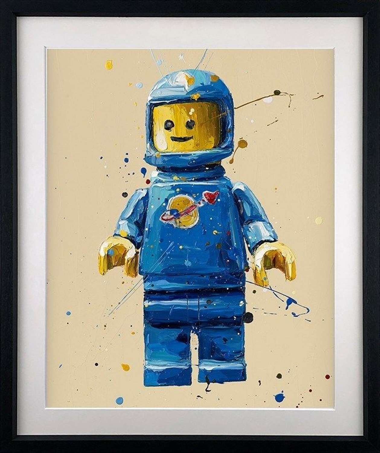 Blue Lego Man - Framed Paper Art Print By Paul Oz