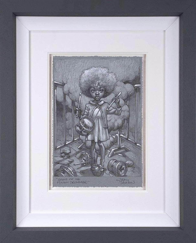Sound Of The Funky Drummer Sketch Framed Art Print  by Craig Davison