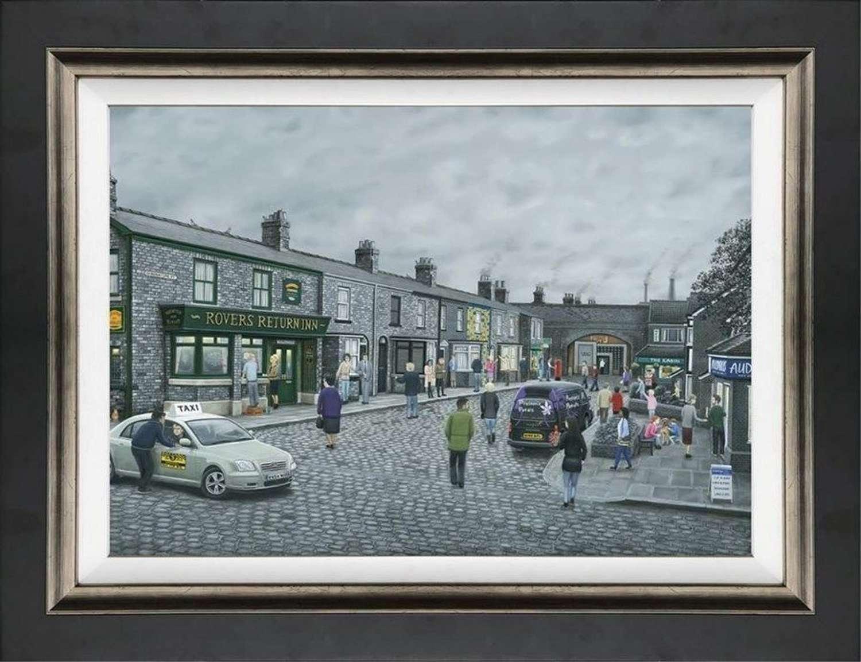 On The Cobbles - Framed Canvas Art Print By Leigh Lambert