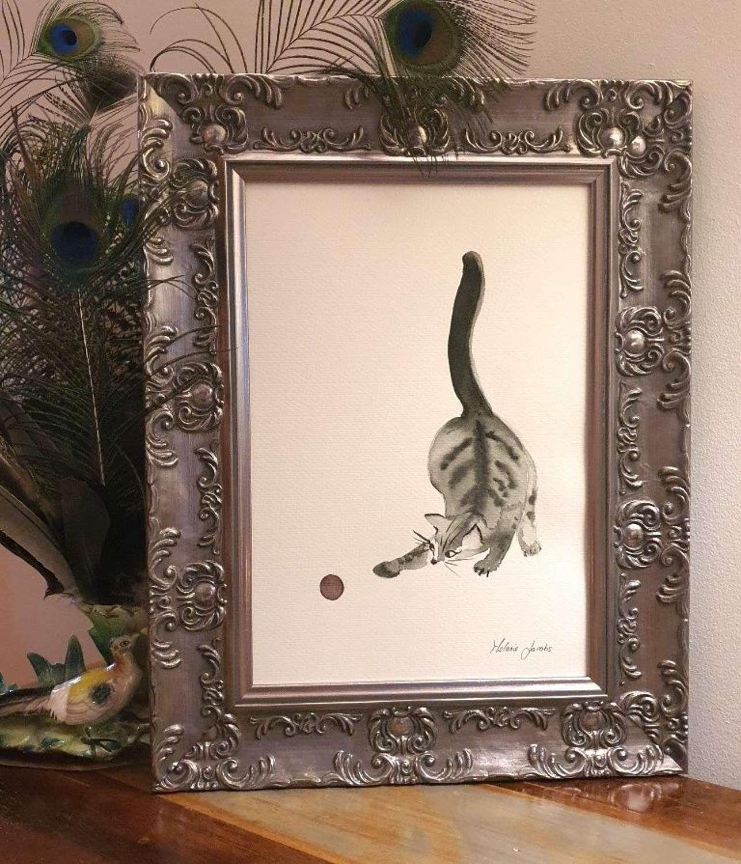 'Ninja' The Tabby - Original Japanese Ink And Watercolour By Melanie