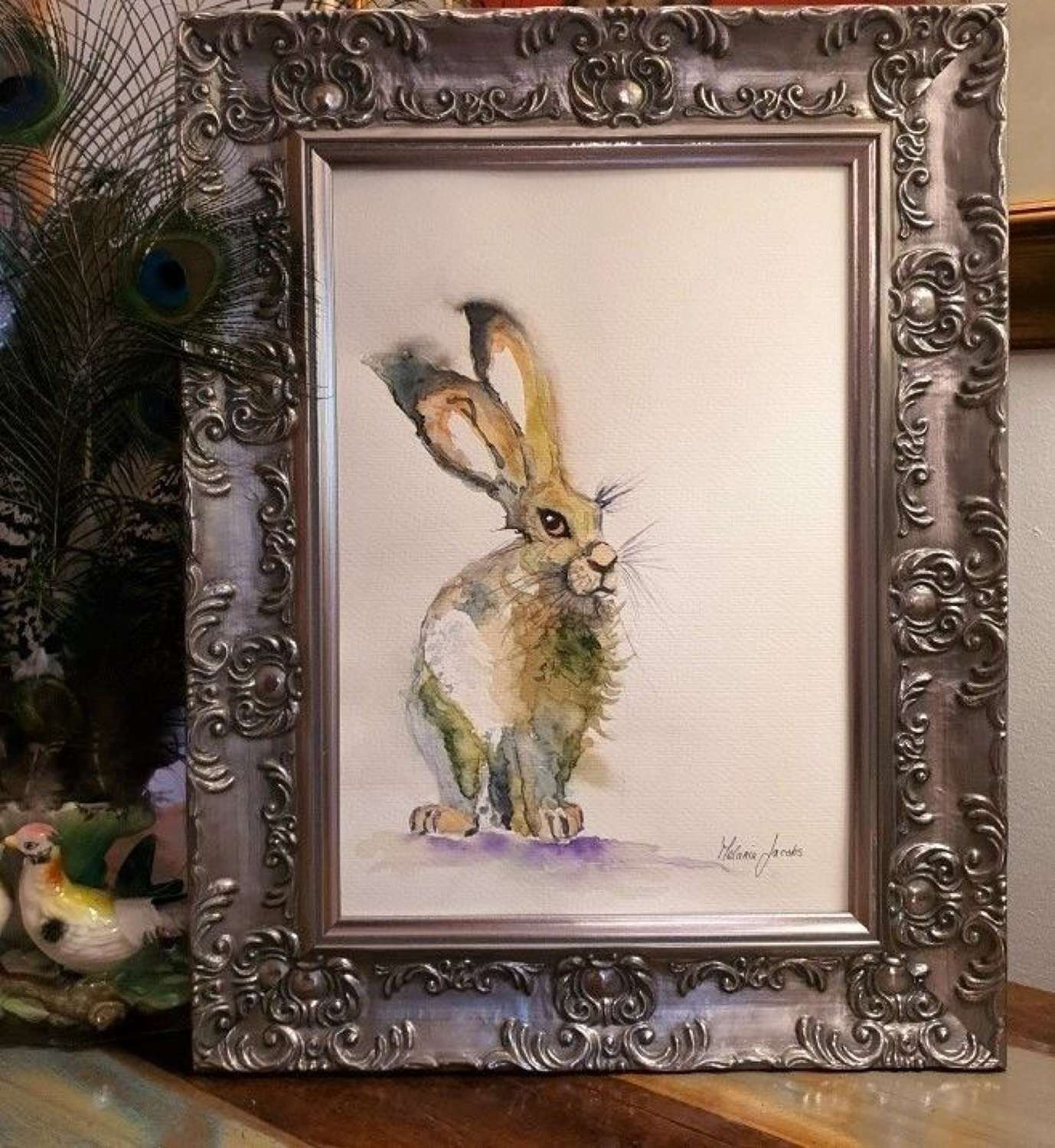 Honour The Hare - Original Japanese Ink By Melanie Jacobs