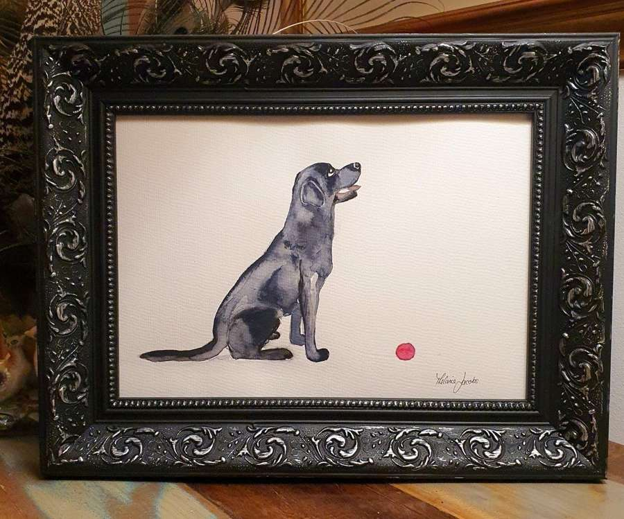 Princess The Black Labrador - Original Japanese Ink By Melanie Jacobs