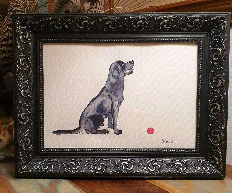 Princess The Black Labrador - Original Japanese Ink By Melanie Jacobs