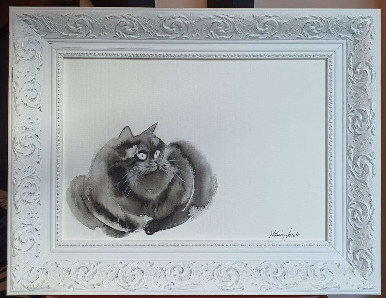 Coco The Cat - Original Ink Painting by Melanie Jacobs