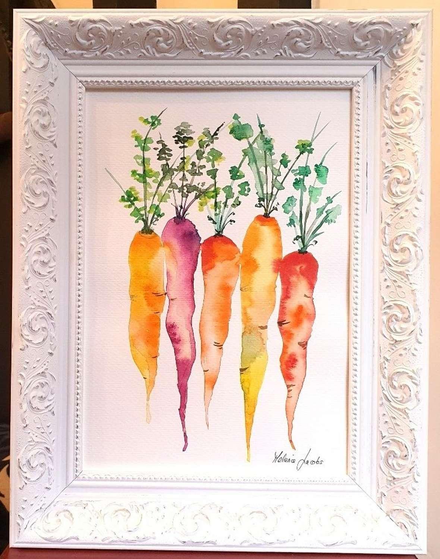 Rainbow Carrots - Original Watercolour Painting by Melanie Jacobs