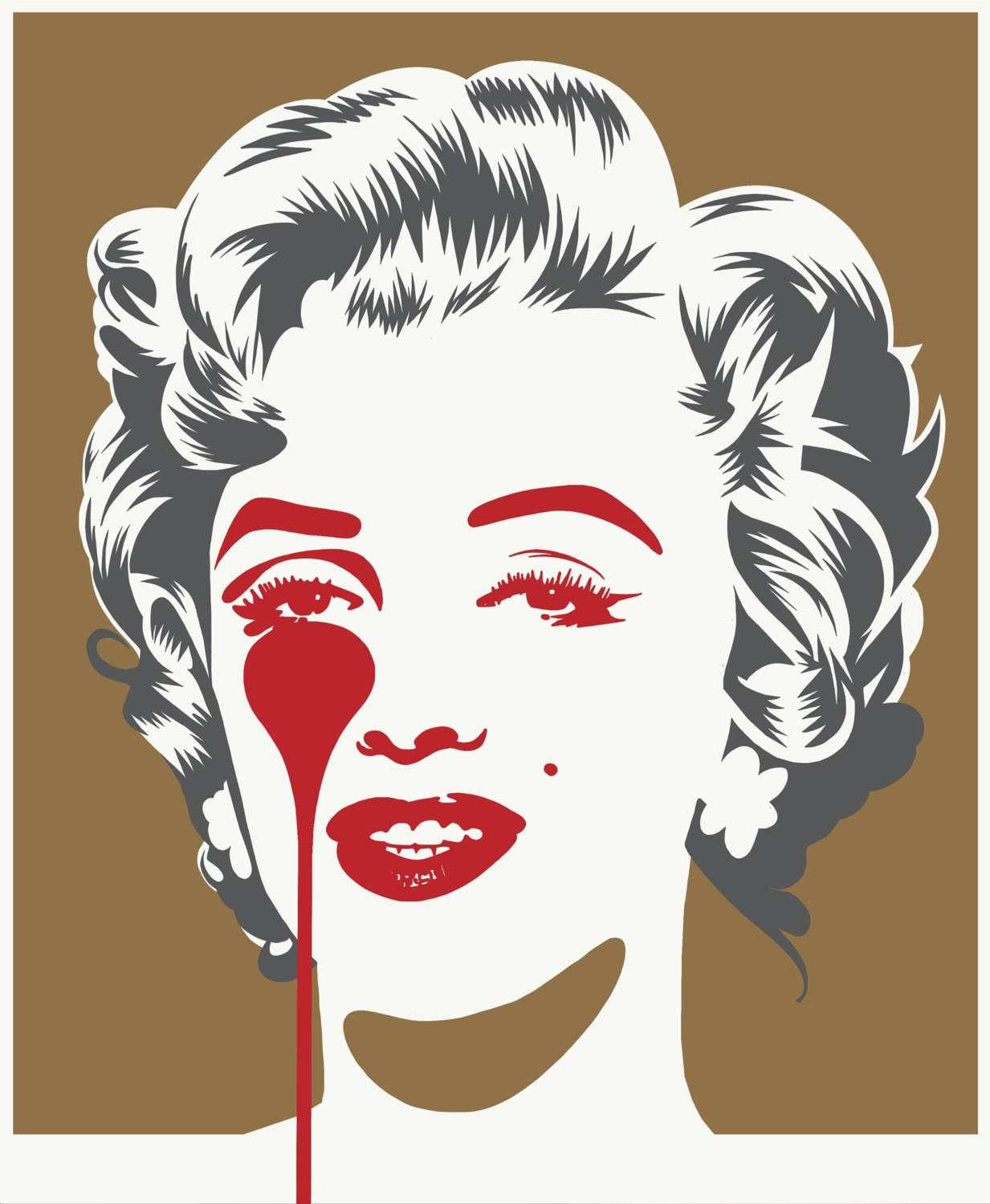 Marilyn Classic Gold & Grey Art Print by Pure Evil