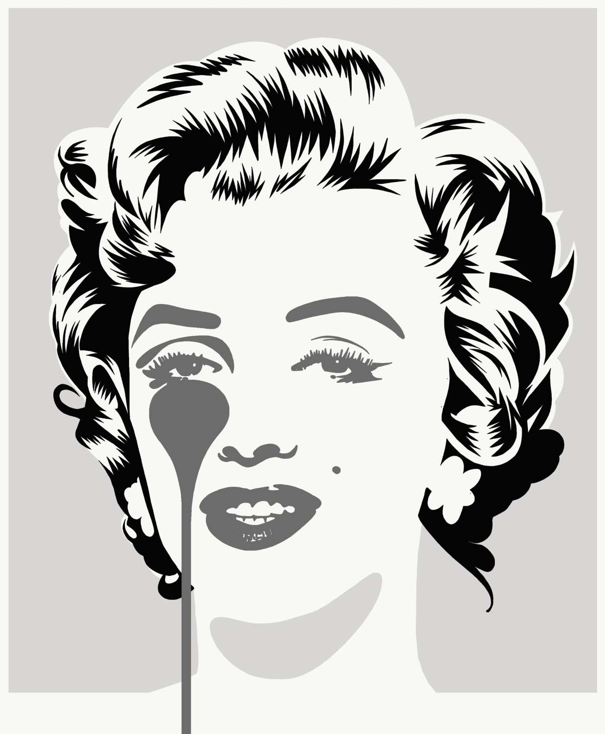 Marilyn Classic Silver & Black Art Print by Pure Evil