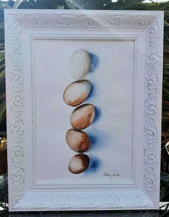 Free Range II - Framed Watercolour Original Art By Melanie Jacobs