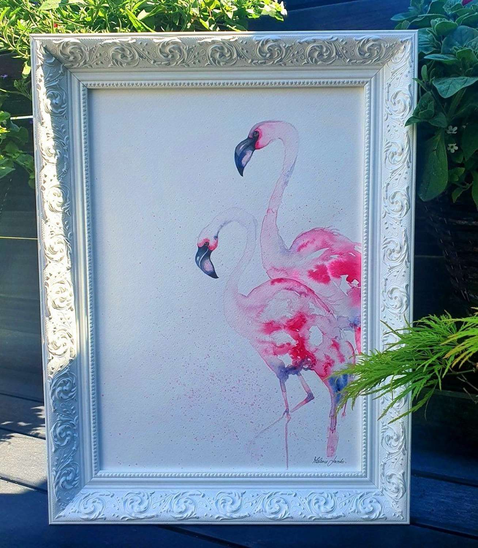 Flamboyant Love I - Framed Watercolour Original Art  By Melanie Jacobs