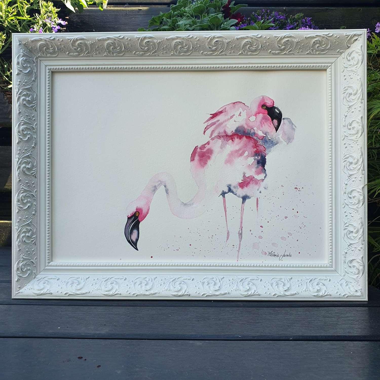 Flamboyant Love II  Framed Watercolour Original Art  By Melanie Jacob