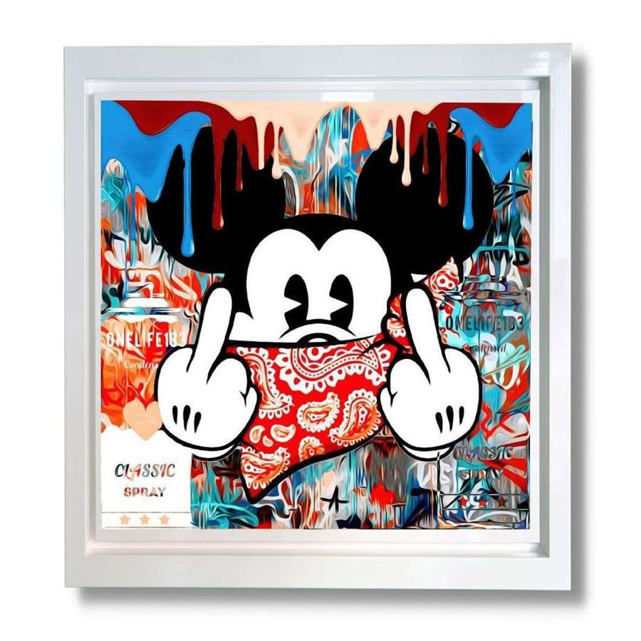 Mad Mickey Framed Canvas art print by OneLife183