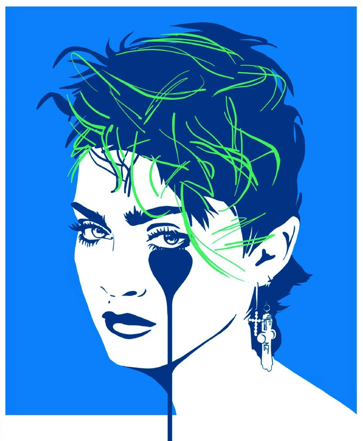 Lucky Star - Madonna - BlueArt Print by Pure Evil