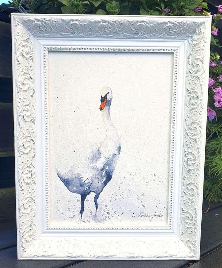 Swanning Around - Framed Original Art  By Melanie Jacobs