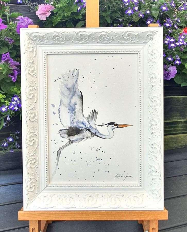 'Heron' - Framed Watercolour Original Art  By Melanie Jacobs
