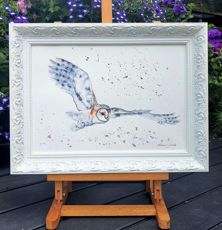 Snowy Owl - Framed Watercolour Original Art  By Melanie Jacobs