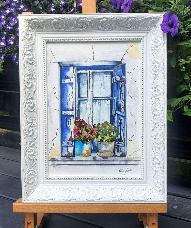 Blue Shutters- Cyprus - Framed Watercolour Original Art  By Melanie
