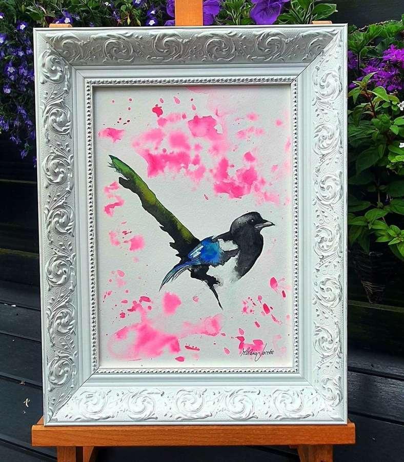 Magpie Magic - Framed Watercolour Original Art  By Melanie Jacobs