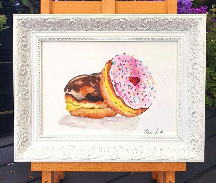 Doughnut Heaven - Framed Watercolour Original Art  By Melanie Jacobs