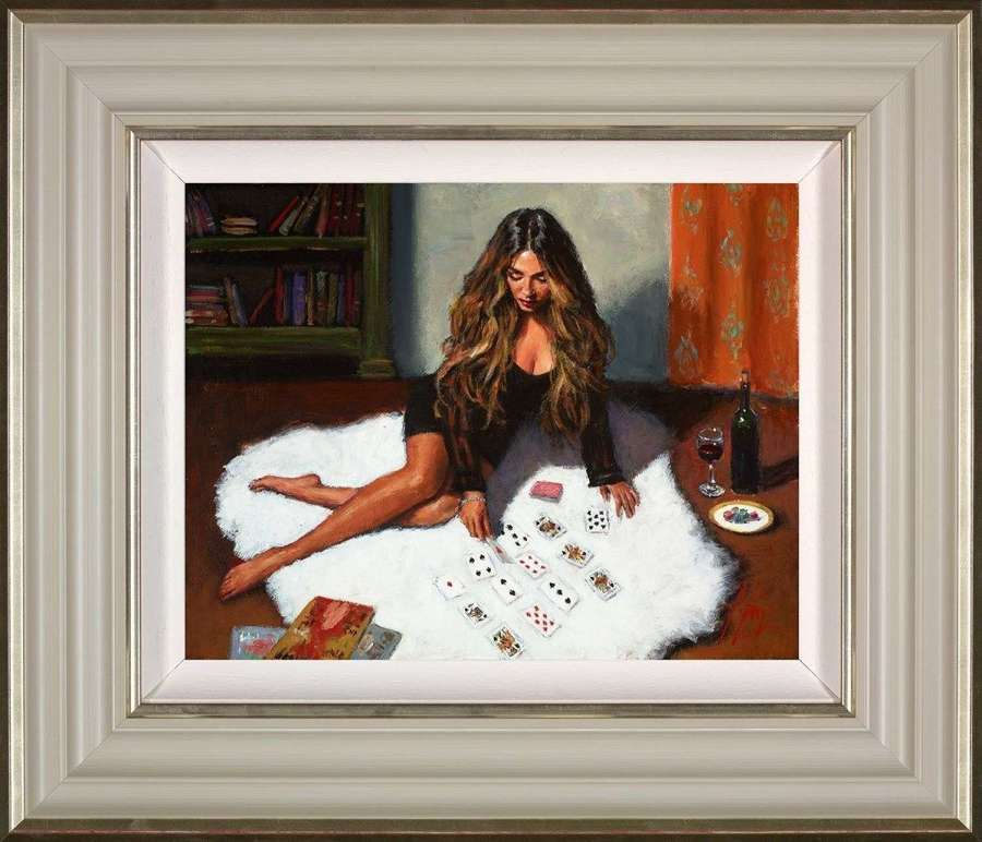Solitaire - Framed Canvas Art Print by Fabian Perez