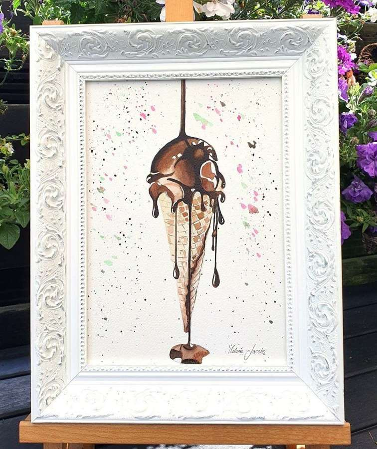 Chocolate Ice Cream- Yes Please - Framed Original Art  Melanie Jaco