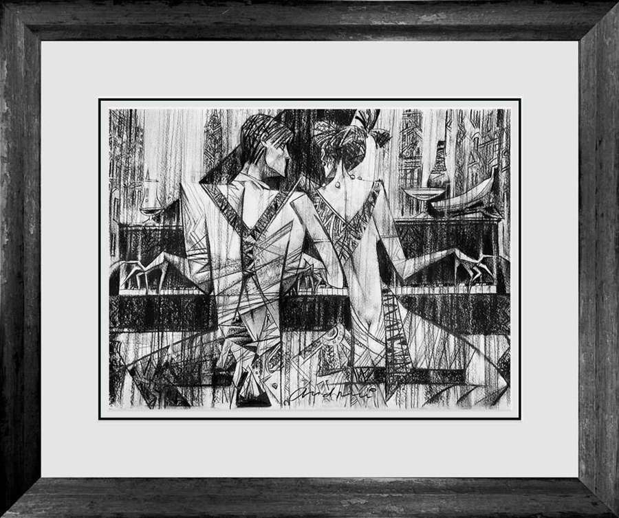 Piano Bar - Framed Sketch by Andrei Protsouk